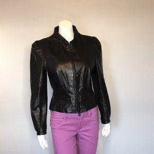 Vintage Berman's Black Leather Jacket - 1980's